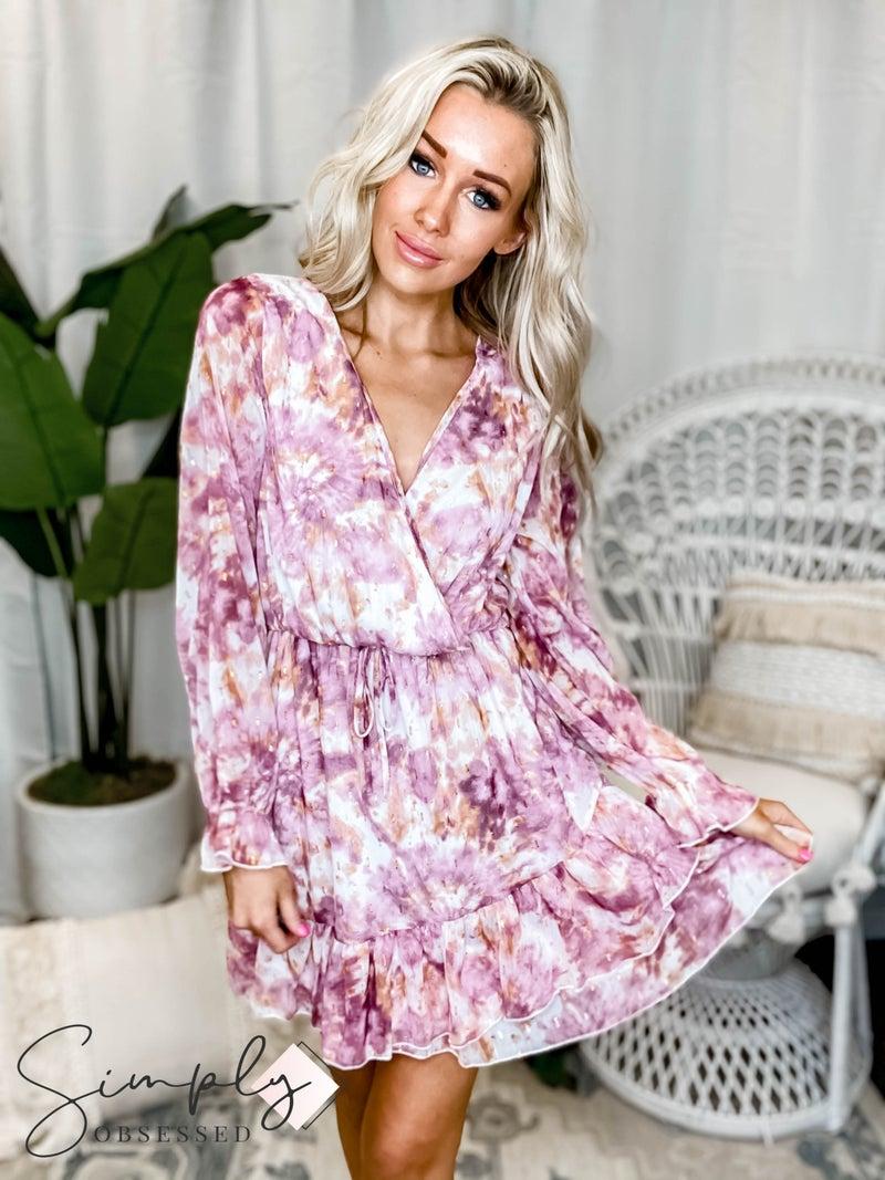 Peach Love California - Printed Long Sleeve Dress W/ Frill Detail