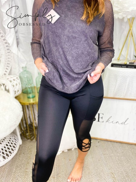 High waisted capri yoga pants with mesh and crisscross detail
