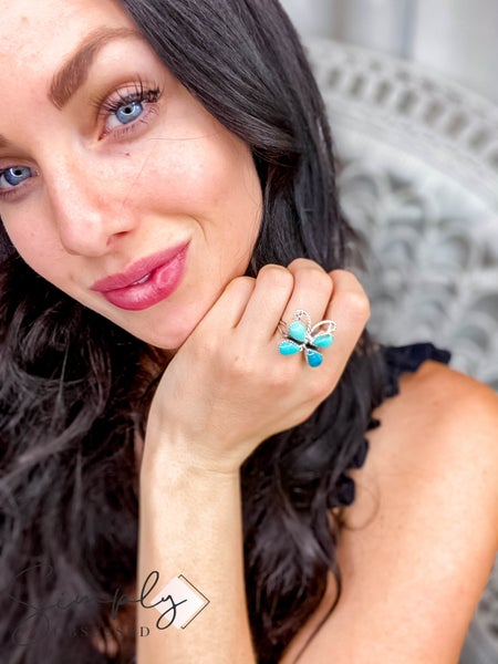 M&S Sterling Silver - Turquoise Butterfly Ring