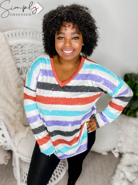 Sew In Love - V Neck Long Sleeve Multi Colored Striped Top
