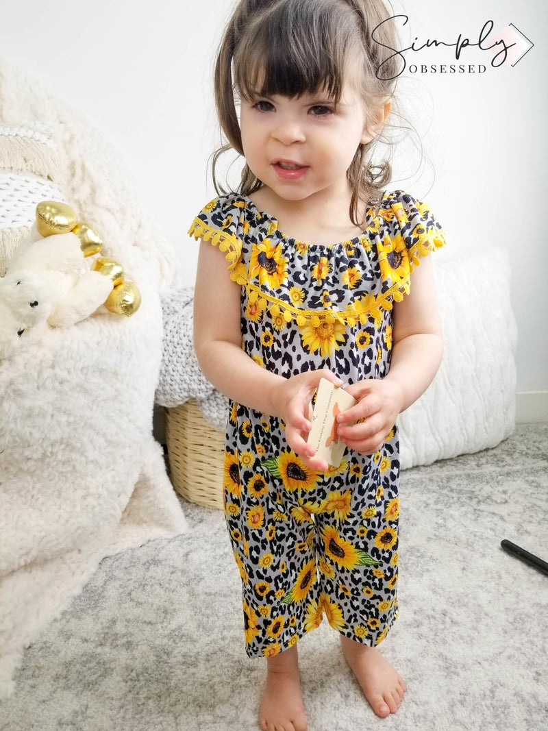 Honeydew-kids leopard sunflower pom pom off shoulder jumpsuit romper
