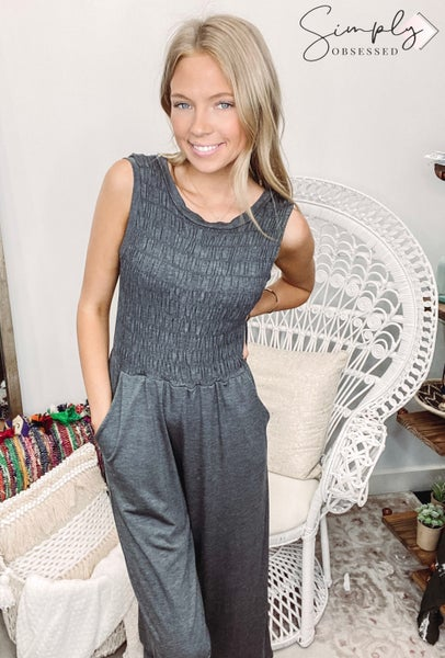 Flamingo-Round Neck Jumpsuit Tank With Pockets
