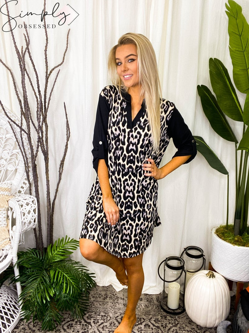 White Birch - Leopard print dress with long contrast sleeves (all sizes)