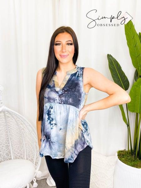 Sew In Love - Sleeveless soft tie dye v-neck top