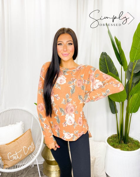 Sew In Love - Long Sleeve Round Neck Floral Sweater Top
