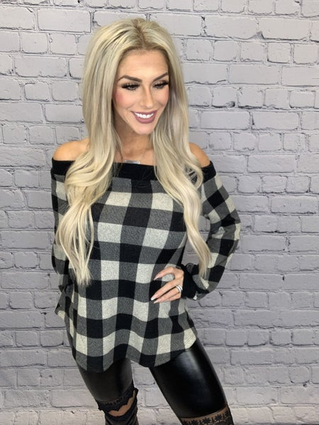 12pm by mon ami - Long sleeve buffalo off shoulder puff sleeve top