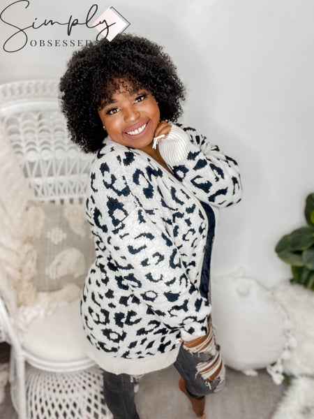 WHITE BIRCH-Long Sleeve Leopard Print Jacquard Knit Cardigan