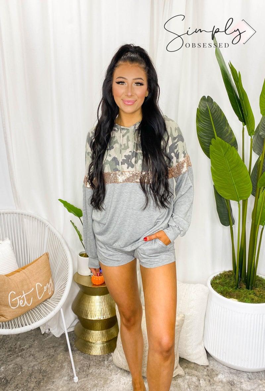 Vanilla Bay - Long Sleeve Camo and Sequins Contrast Hoodie Top & Shorts Loungewear Set