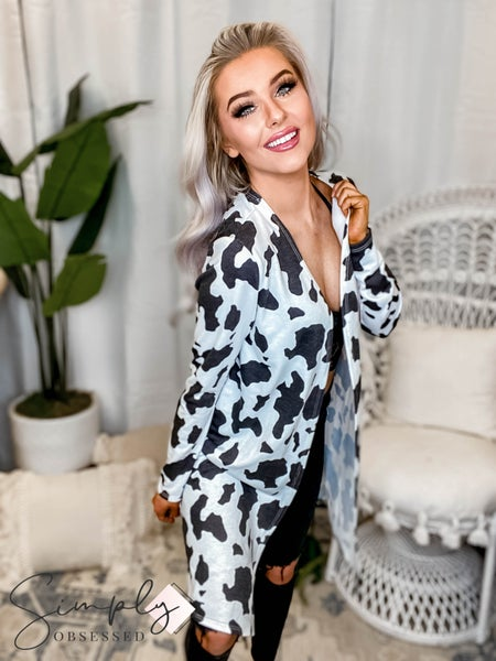 Fantastic Fawn - Long Sleeve Cow Print Knit Cardigan Duster
