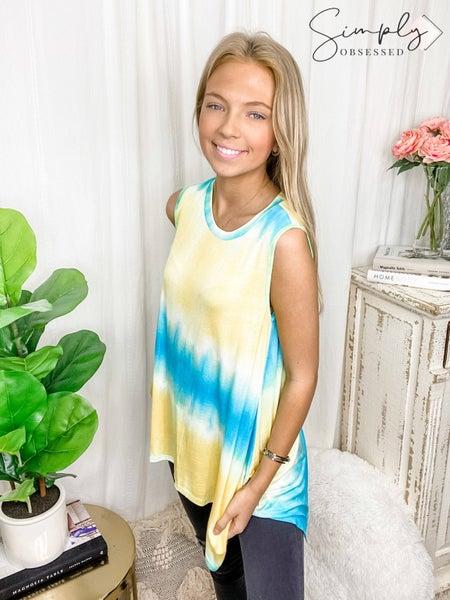 CREAM N SUGAR-Tie Dye Print Round Neck Tunic Top