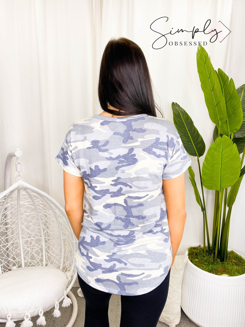 Flamingo - Short sleeve round neck camo print top(plus)