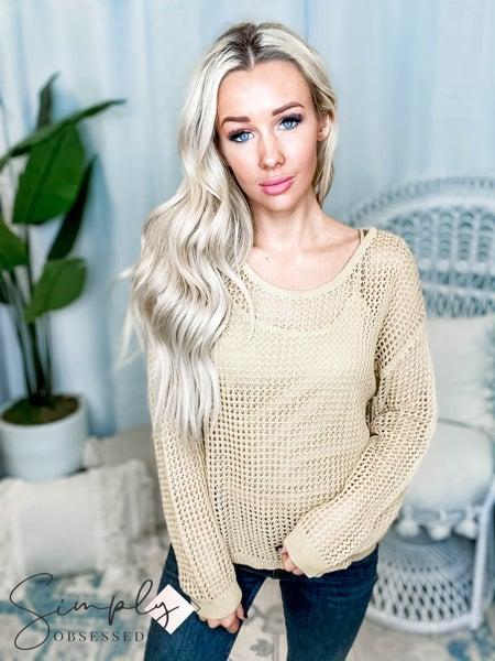 Hem & Thread - Open Crochet Pullover Sweater W/ Brami Set