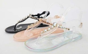 BAMBOO-THONG STRAP JELLY WITH RHINESTONE SANDAL
