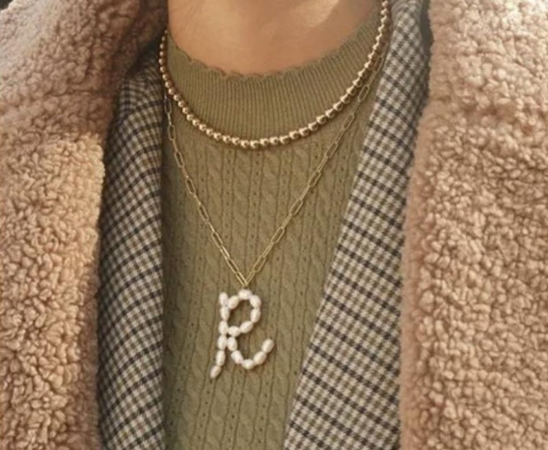 Pearl Letter Necklace on Paperclip Chain
