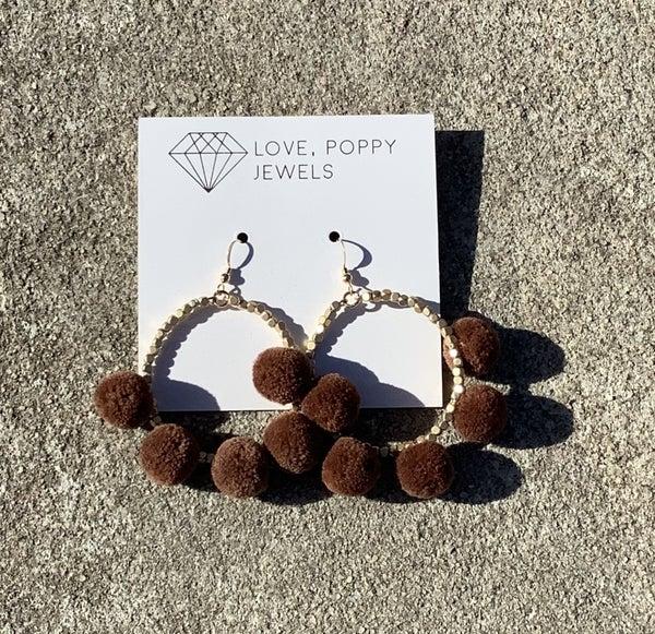 Love, Poppy Nugget Pom Pom Hoops! *Final Sale*