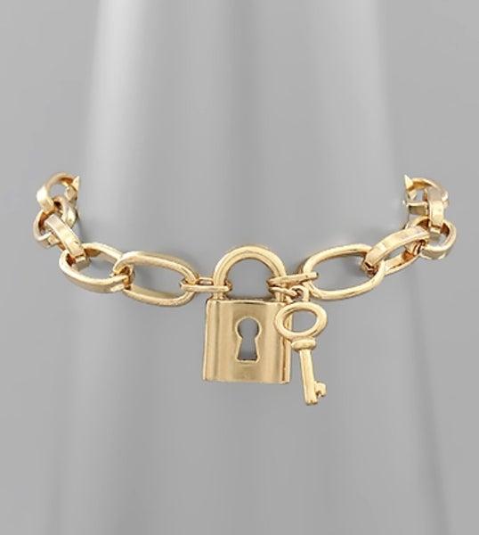 "Gold ""Lock"" Bracelet"