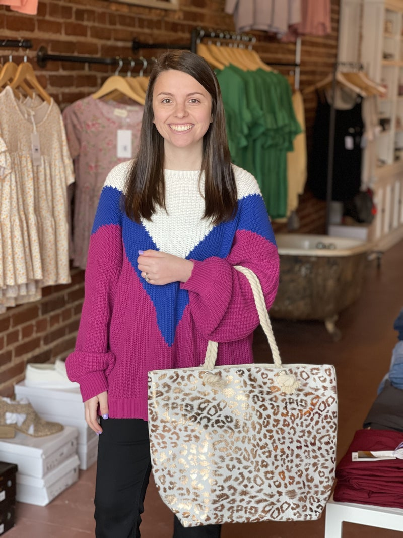 Metallic Leopard Print Canvas Tote Bag *2 Colors!*