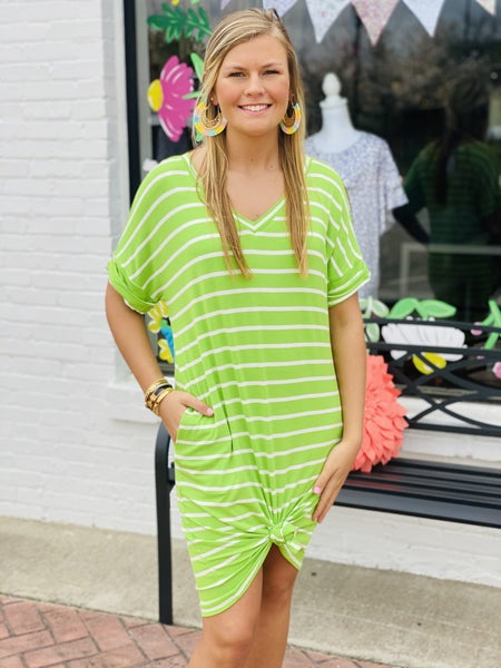 All Lined up Dress *Green/Ivory*