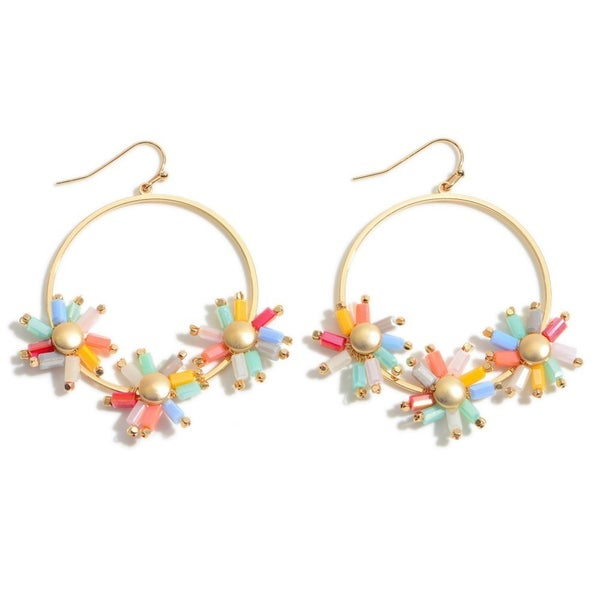 Crystal Flower Beaded Drop Earrings