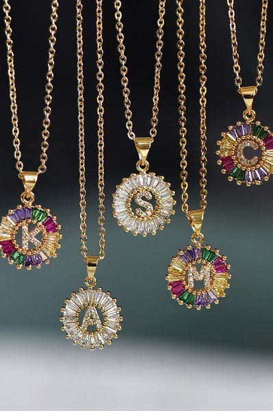 Pop Of Color Initial Necklaces