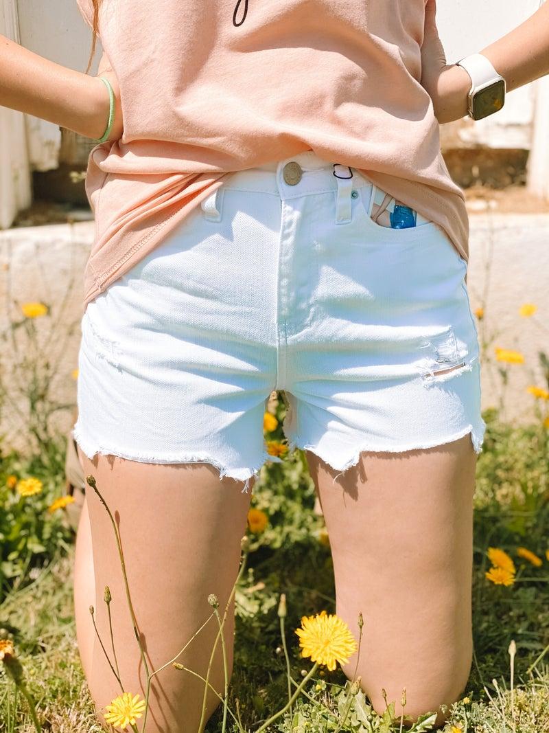 High-Rise WannaBettaButt Frayed Hem Shorts