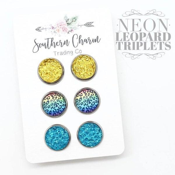 Sunset Sparkles & Neon Leopard Studs *Final Sale*