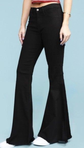 Judy Blue Super Flare Jeans - Black and Dark Denim