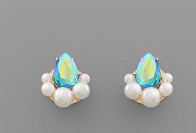 Pearl Trim Teardop Crystal Studs *Final Sale*
