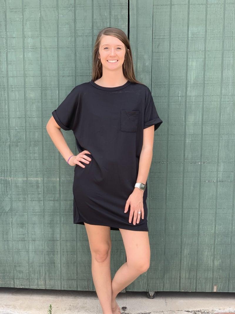 Can't Stop Me Pocket Dress-Black