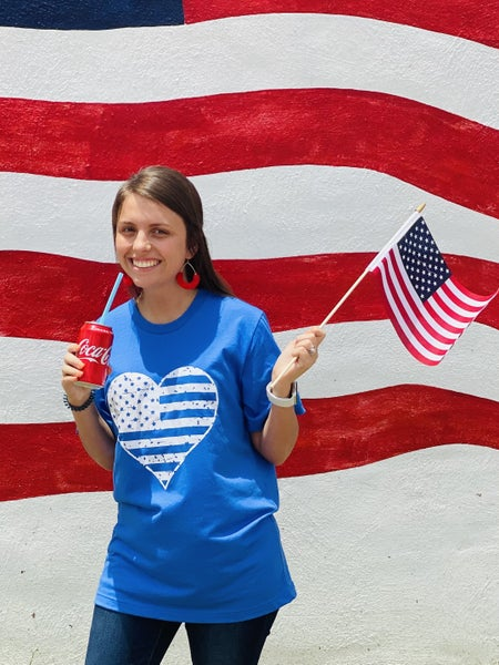 Distressed Heart Flag Patriotic Graphic Tee *Blue*