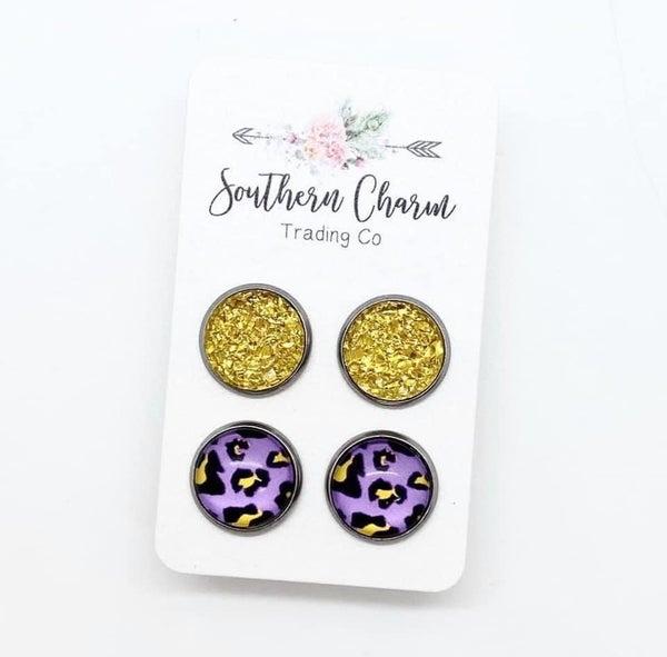 Yellow Sparkle Druzies & Neon Purple Leopard *Final Sale*
