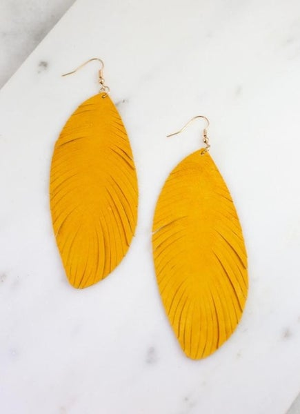 Southern Belle Genuine Suede Earrings-Mustard