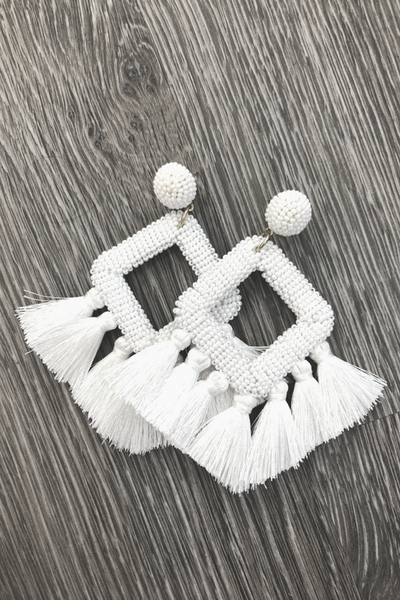 Ellie Fringe Drop Earrings *White*