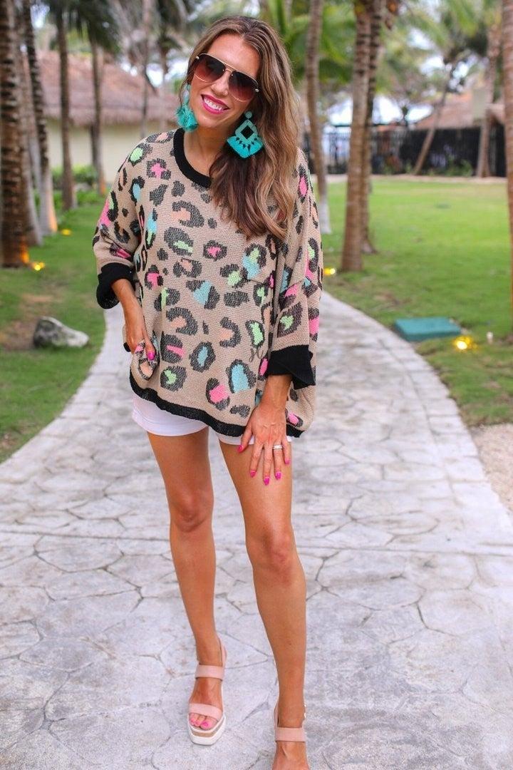 Charleston Colorful Leopard Lightweight Sweater