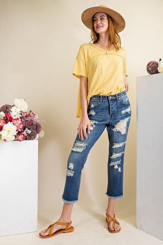 Blessed And Distressed Ankle Length Jeans