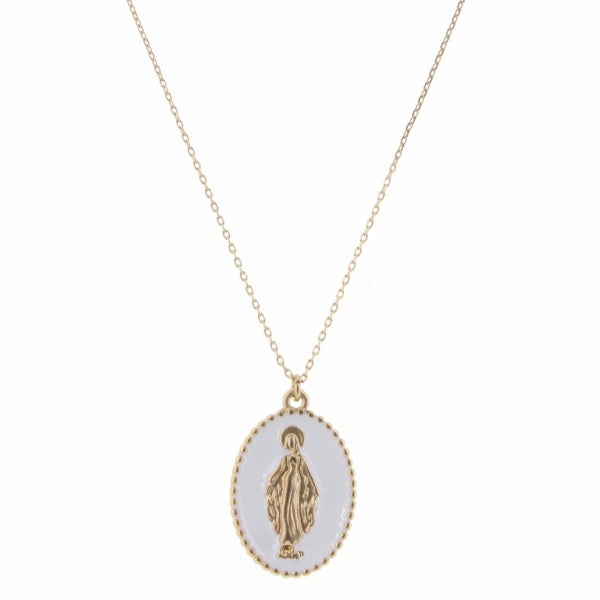 Gold Saint In White Oval Necklace