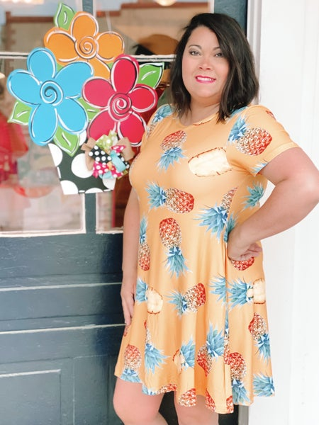 Curvy Line! Sweet As Pineapple Dress