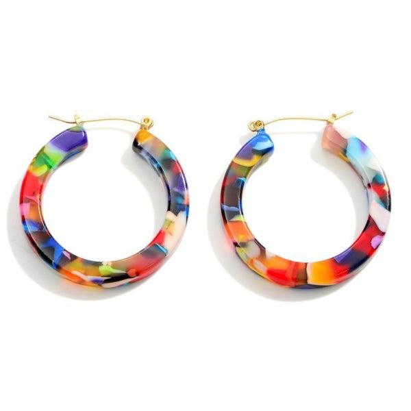 Multicolor Resin Hoop Earrings