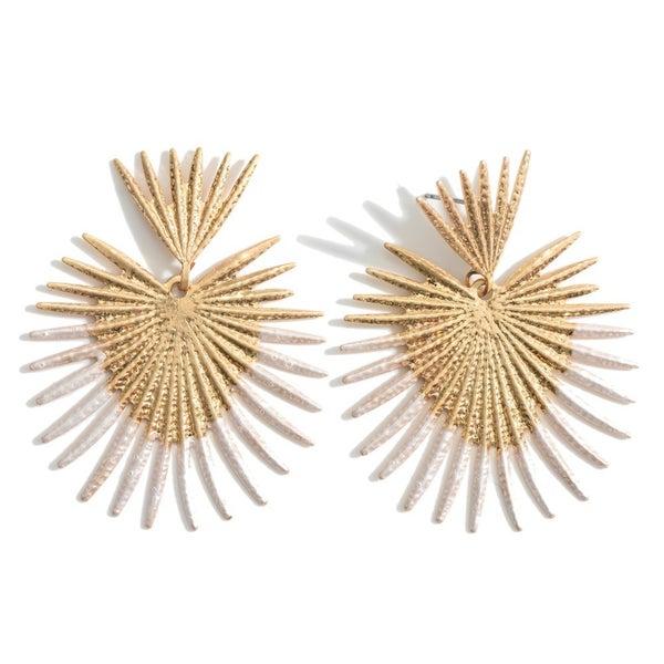 Gold Heart Shaped Drop Earrings