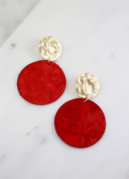 Claremore Faux Fur Earrings-Red