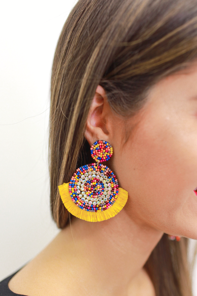 Keep It Beachy Beaded Fringe Earrings
