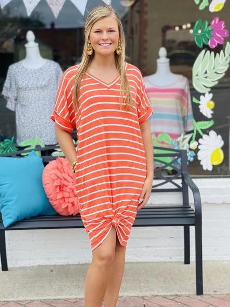 All Lined up Dress *Orange/Ivory*