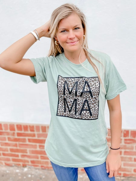 MAMA Leopard Print Graphic Tee