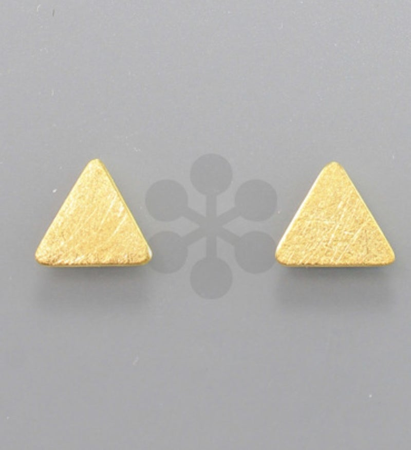 Tiny Triangle Gold Studs - Gold Dipped