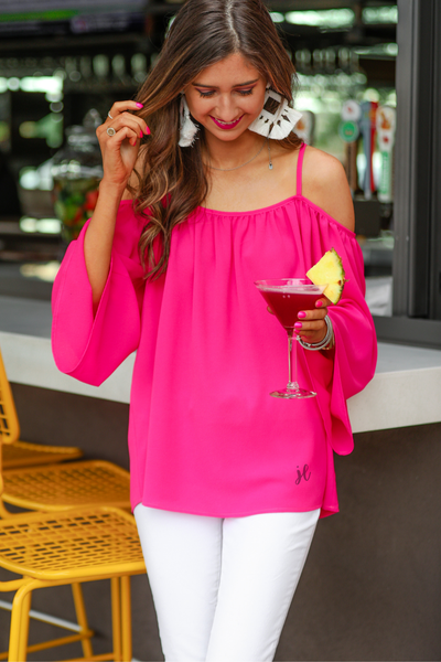 Charlotte Cold Shoulder Top *Pink*