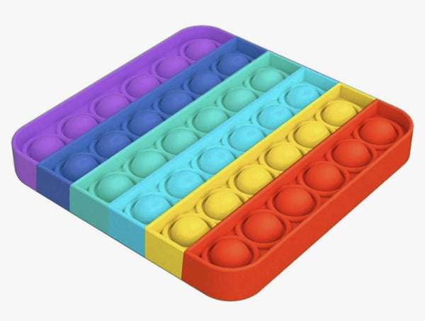 Rainbow Square Shaped Push Pop Fidget Toy