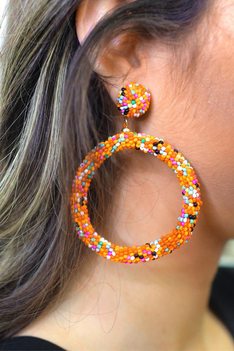 Girl Next Door Beaded Hoop Earrings