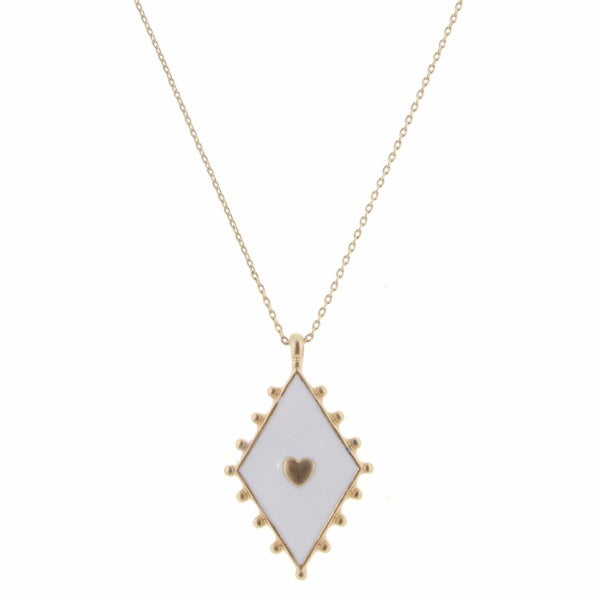 Gold Heart In White Diamond Necklace