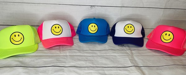 Smiley Face Patch Vintage Trucker Hat *Several Colors*