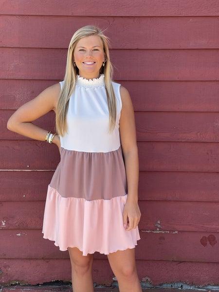 Sweet Simplicity Dress *Pink/Taupe*